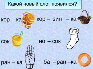 Какой новый слог появился? кор – ка сок ран – ка но – сок ба – ран –ка кор –