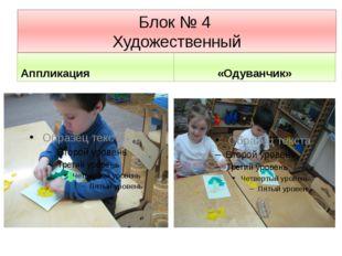 Блок № 4 Художественный Аппликация «Одуванчик»