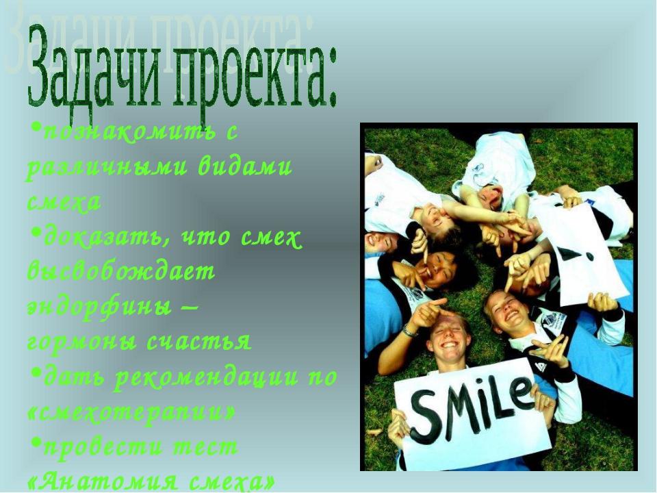 познакомить с различными видами смеха доказать, что смех высвобождает эндорфи...