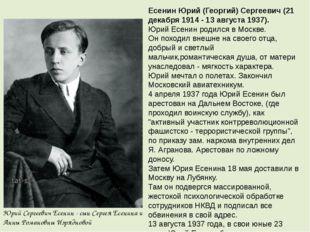Есенин Юрий (Георгий) Сергеевич (21 декабря 1914 - 13 августа 1937). Юрий Есе