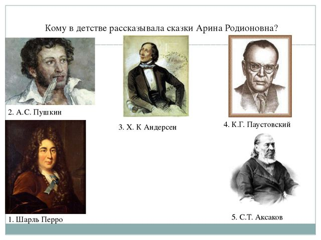 Кому в детстве рассказывала сказки Арина Родионовна? 2. А.С. Пушкин 3. Х. К...