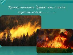 Крепко помните, друзья, что с огнём шутить нельзя………..
