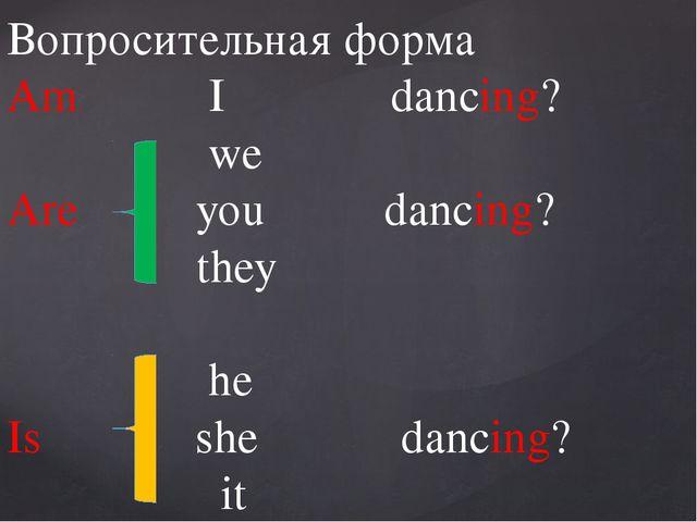 Вопросительная форма Am I dancing? we Are you dancing? they he Is she dancin...