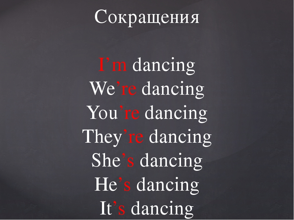 Сокращения I'm dancing We're dancing You're dancing They're dancing She's dan...