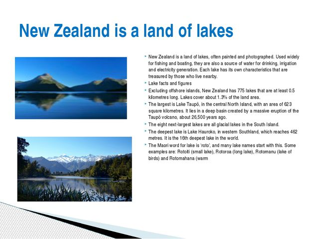 New Zealand is a land of lakes, often painted and photographed. Used widely f...