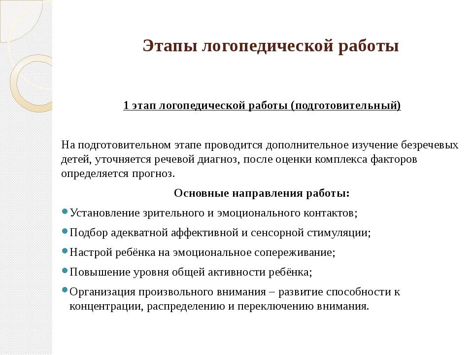 Этапы логопедической работы 1 этап логопедической работы (подготовительный)...