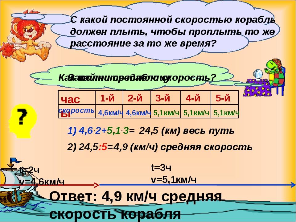 t=2ч v=4,6км/ч t=3ч v=5,1км/ч С какой постоянной скоростью корабль должен плы...