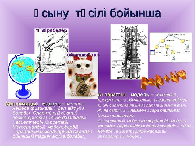 Ұсыну тәсілі бойынша Материалдық модель – заттық немесе физикалық деп айтуға...