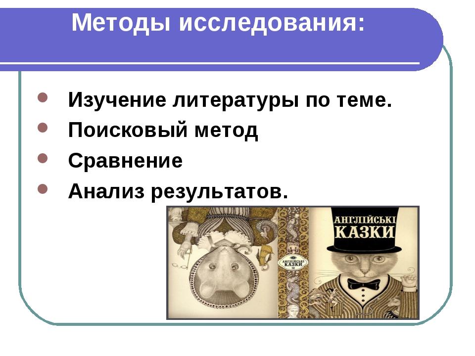Методы исследования: Изучение литературы по теме. Поисковый метод Сравнение А...