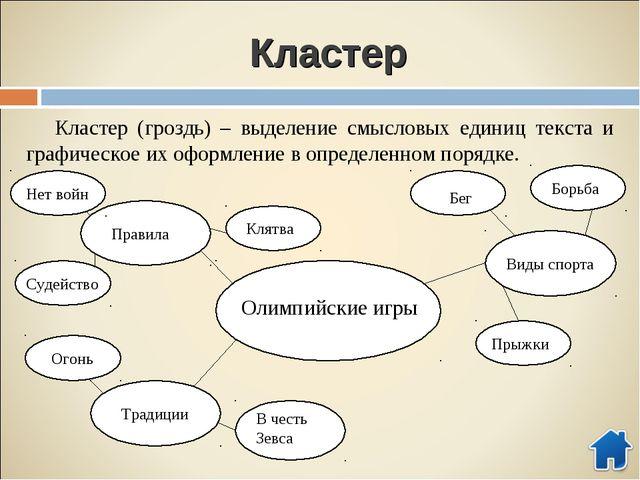 Кластер Кластер (гроздь) – выделение смысловых единиц текста и графическое их...