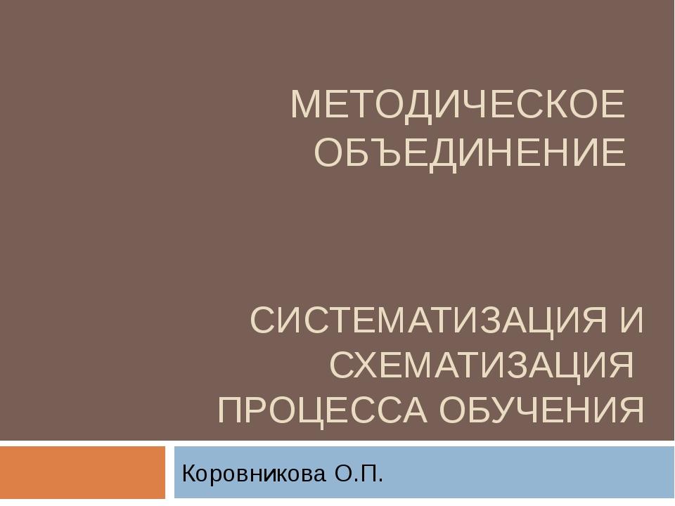 СИСТЕМАТИЗАЦИЯ И СХЕМАТИЗАЦИЯ ПРОЦЕССА ОБУЧЕНИЯ Коровникова О.П. МЕТОДИЧЕСКОЕ...