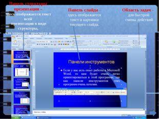 Панель структуры презентации – здесь отображается текст всей презентации в ви