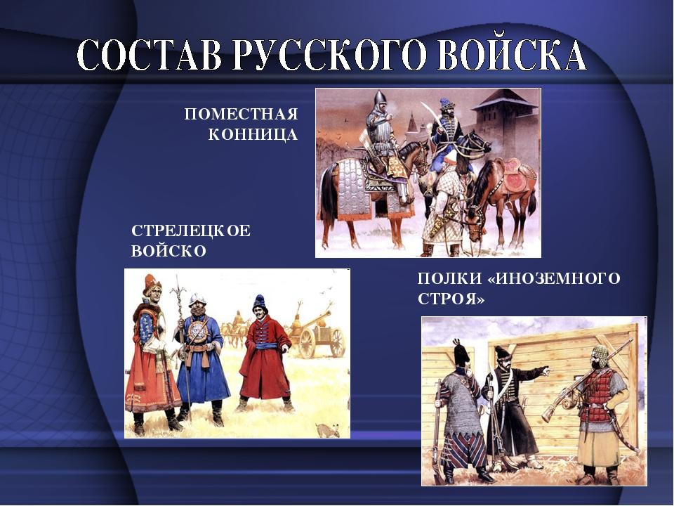 ПОМЕСТНАЯ КОННИЦА СТРЕЛЕЦКОЕ ВОЙСКО ПОЛКИ «ИНОЗЕМНОГО СТРОЯ»