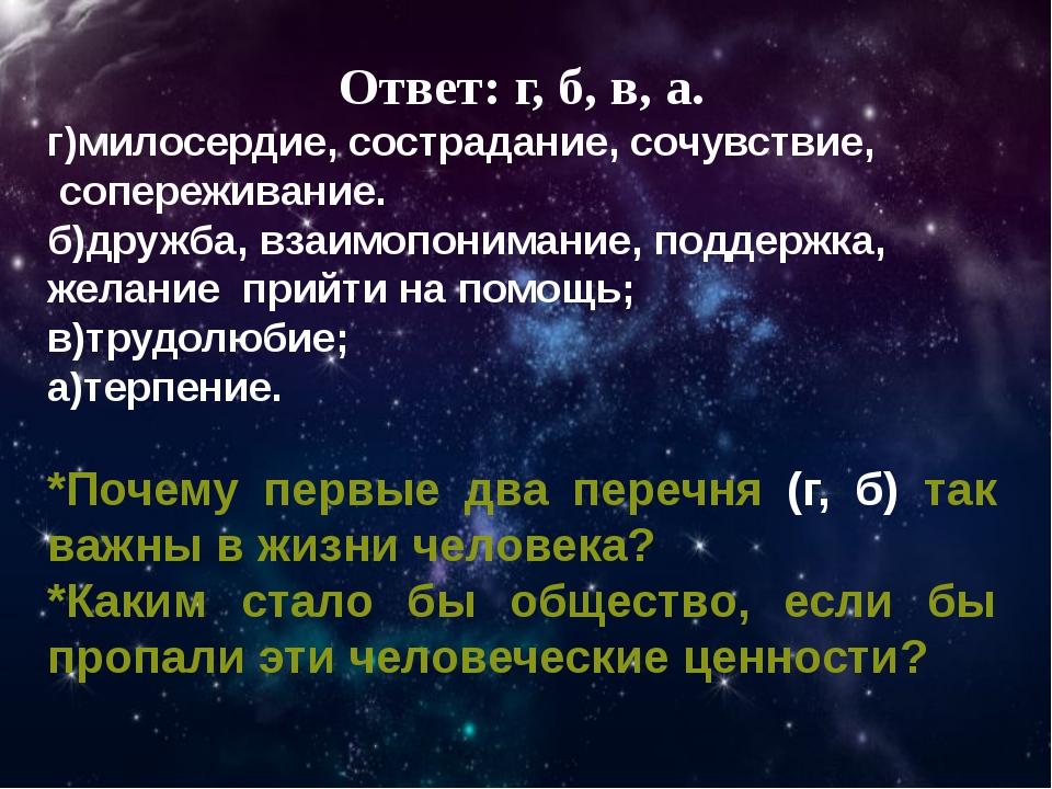 Ответ: г, б, в, а. г)милосердие, сострадание, сочувствие, сопереживание. б)др...