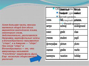 Хотя большая часть лексики является общей для обоих вариантов английского язы