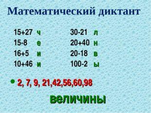 величины 15+27 ч30-21 л 15-8 е20+40 н 16+5 и20-18 в 10+46 и100-2 ы 2
