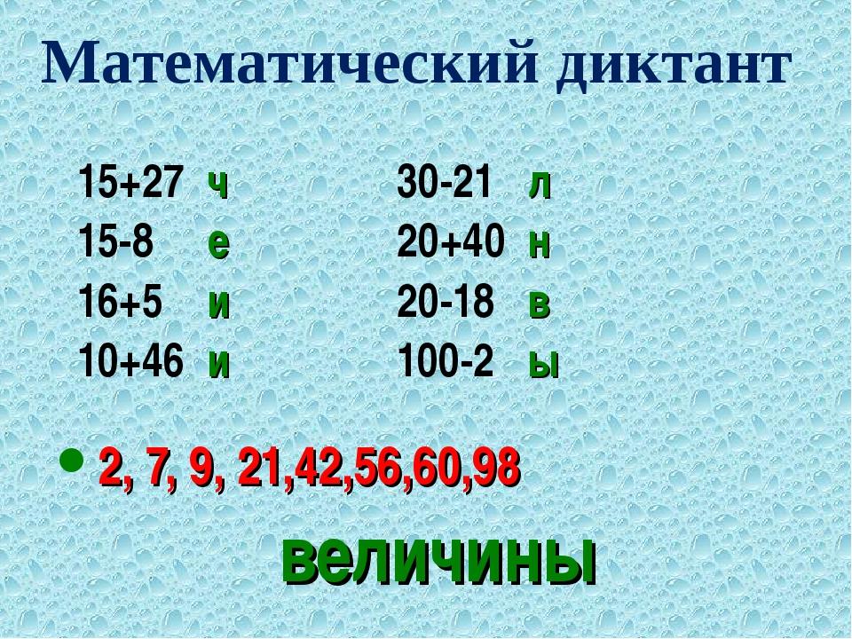 величины 15+27 ч30-21 л 15-8 е20+40 н 16+5 и20-18 в 10+46 и100-2 ы 2...