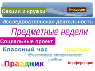 Традиции Исследовательская деятельность Конференции Социальные проект Секции