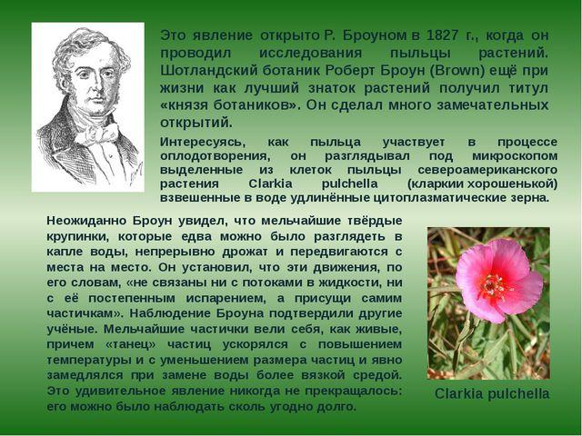 Это явление открытоР. Броуномв 1827 г., когда он проводил исследования пыл...