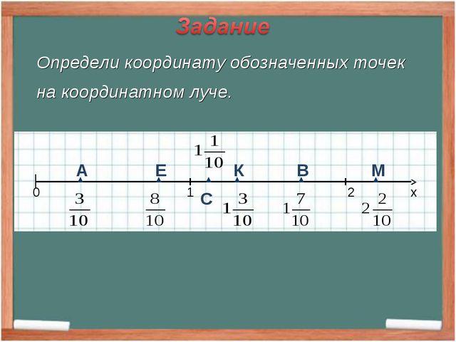 Определи координату обозначенных точек на координатном луче. А Е К В М С