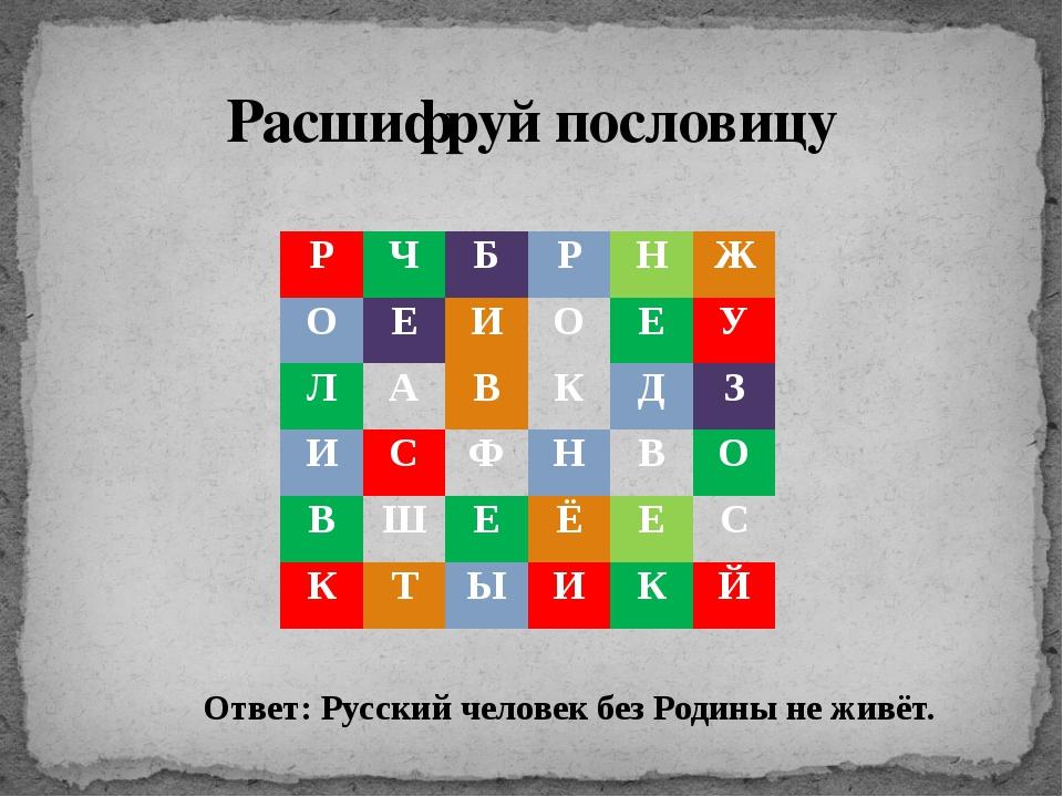 Расшифруй пословицу Ответ: Русский человек без Родины не живёт. Р Ч Б Р Н Ж...