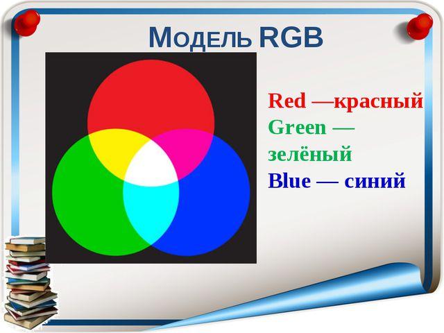 МОДЕЛЬ RGB . Red —красный Green —зелёный Blue — синий