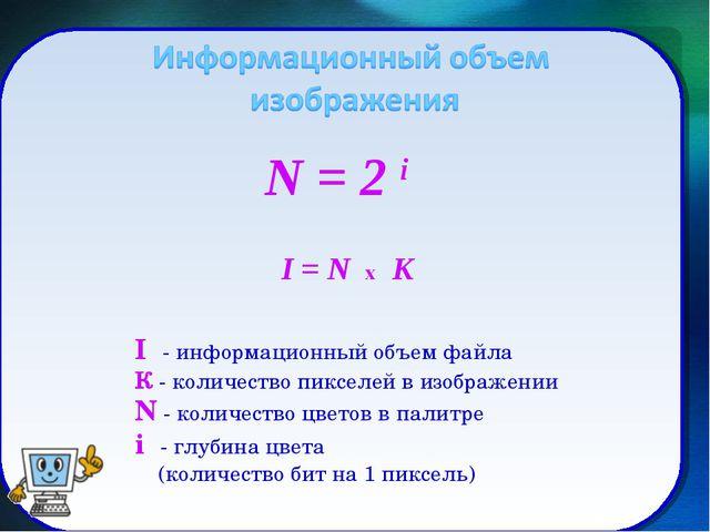 I - информационный объем файла К - количество пикселей в изображении N - коли...