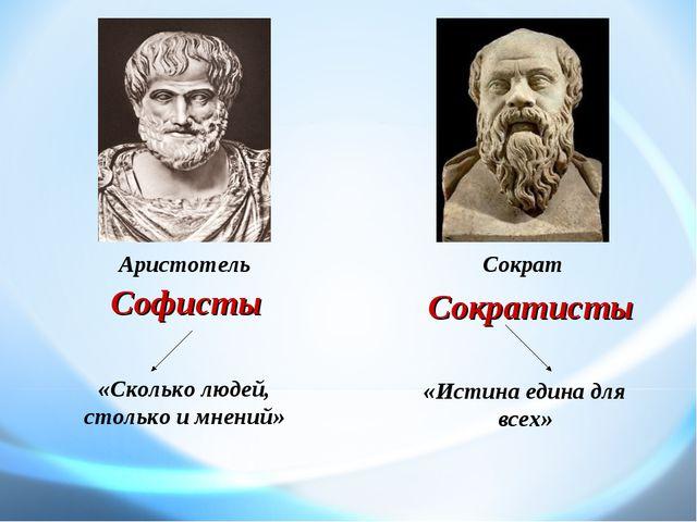 «Сколько людей, столько и мнений» «Истина едина для всех» Софисты Сократисты...
