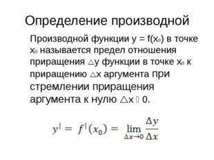 Определение производной Производной функции y = f(x0) в точке x0 называется п