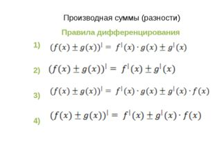 Производная суммы (разности) Правила дифференцирования 1) 2) 3) 4)