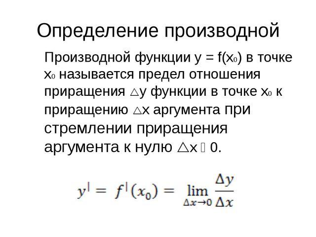 Определение производной Производной функции y = f(x0) в точке x0 называется п...