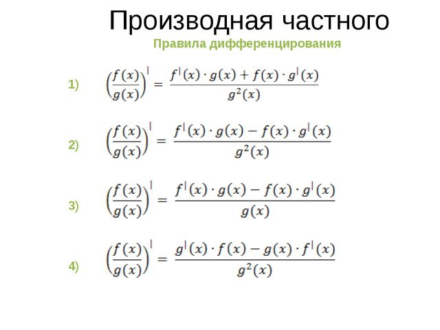 Производная частного Правила дифференцирования 1) 2) 3) 4)