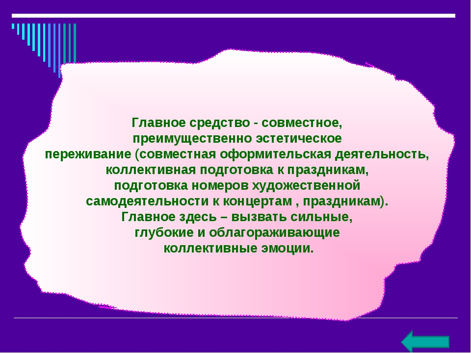 Главное средство - совместное, преимущественно эстетическое переживание (совм...