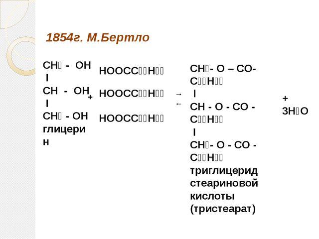 СН₂ - ОН I СН - ОН I СН₂ - ОН глицерин СН₂- О – СO- С₁₇Н₃₅ l CH - O - CO - С...