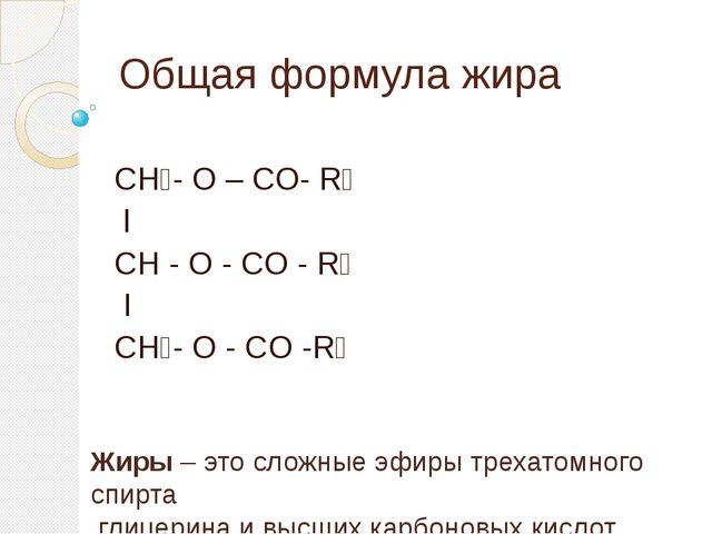 Общая формула жира СН₂- О – СO- R₁ l CH - O - CO - R₂ I CH₂- O - CO -R₃ Жиры...
