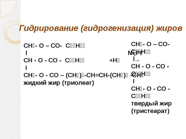 СН₂- О – СO- С₁₇Н₃₃ l Ni,Рt CH - O - CO - С₁₇Н₃₃ +Н₂ → I CH₂- O - CO – (СН₂)₇...