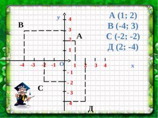 1 2 3 4 -4 -3 -2 -1 - 1 - 2 - 3 - 4 4 3 2 1 Д А В С А (1; 2) В (-4; 3) С (-2