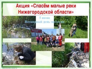 Акция «Спасём малые реки Нижегородской области» 5 июня Всемирный день экологии