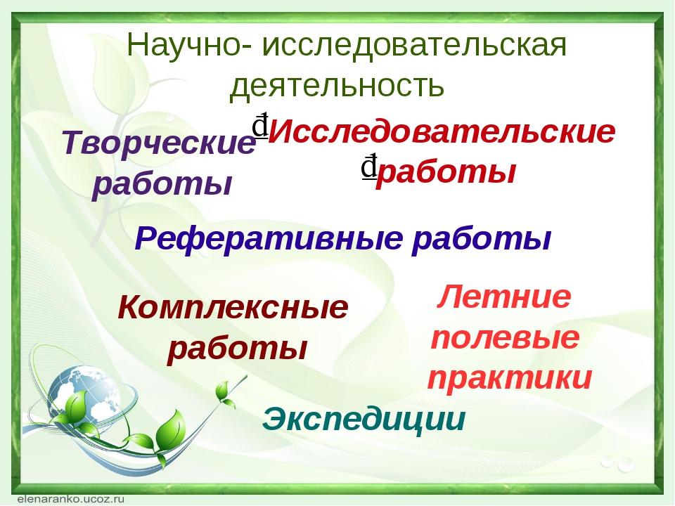 Научно- исследовательская деятельность Исследовательские работы Творческие р...