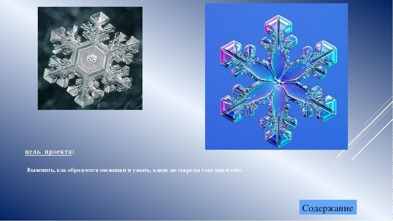 цель проекта: Выяснить, как образуются снежинки и узнать, какие же секреты та...