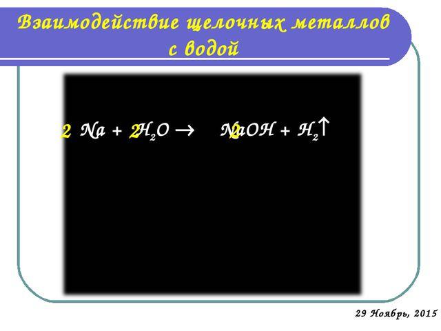 Взаимодействие щелочных металлов с водой * Na + H2O  NaOH + H2 2 2 2 I I