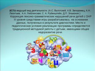 ИГРА-ведущий вид деятельности. (А.С. Выготский, А.В. Запорожец, А.Н. Леонтье