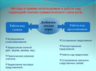 Методы и приемы используемые в работе над коррекцией лексико-грамматического