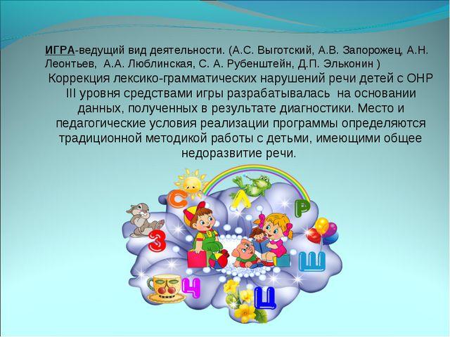 ИГРА-ведущий вид деятельности. (А.С. Выготский, А.В. Запорожец, А.Н. Леонтье...