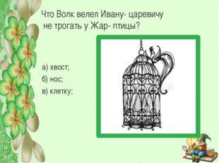 Что Волк велел Ивану- царевичу не трогать у Жар- птицы? а) хвост; б) нос; в)