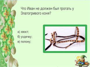 Что Иван не должен был трогать у Златогривого коня? а) хвост; б) уздечку; в)