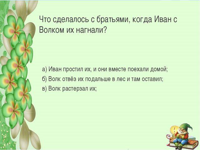 Что сделалось с братьями, когда Иван с Волком их нагнали? а) Иван простил их,...