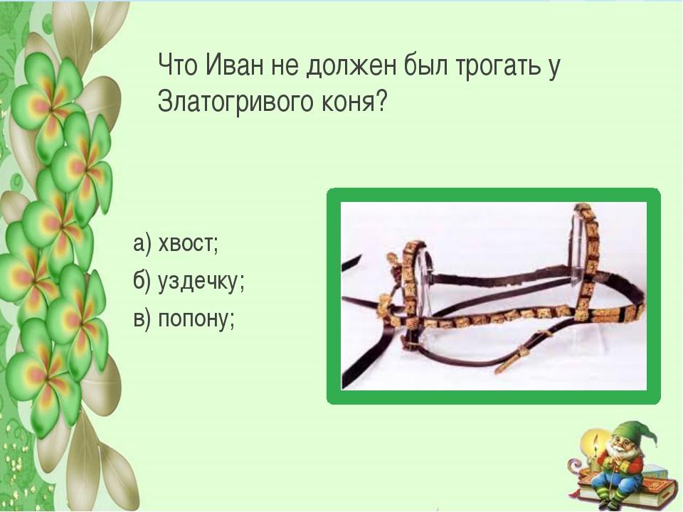 Что Иван не должен был трогать у Златогривого коня? а) хвост; б) уздечку; в)...