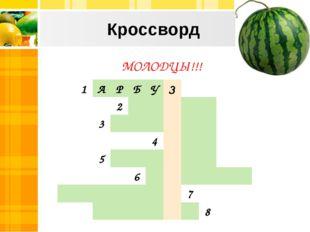 Кроссворд МОЛОДЦЫ!!! 1АРБУЗ 2 3 4