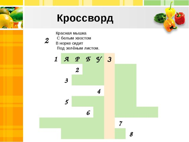 Кроссворд Красная мышка С белым хвостом В норке сидит Под зелёным листом. 2...